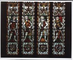 Fig. 2. The 'Holders of the Honour of Tewkesbury', c.1338–40, stained and painted glass. North window of the choir clerestory, Tewskesbury Abbey, Gloucestershire.