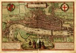 Fig. 3. Franz Hogenberg, after anonymous artist, 'Map of the City of London, Southwark and part of Westminster', 1572, engraving on paper, 33 x 58.8 cm (13 x 23 1/8 in.), published in 'Civitates Orbis Terrarum' (Cologne: Georg Braun and Franz Hogenberg, 1572). Reproduced with the permission of the Historic Cities Center of the Department of Geography, the Hebrew University of Jerusalem and the Jewish National and University Library (http://www. historic-cities.huji.ac.il).