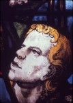 Fig. 4. Galyon Hone (attributed), 'St John at the Deposition', stained and painted glass, c.1540. Main-light panel (detail) in the east window of the choir, King's College Chapel, Cambridge.