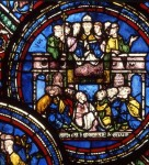 Fig. 2. Archbishop Thomas Becket preaches in Canterbury Cathedral on 2 December 1170. Cathédrale Saint-Etienne, Sens, window 21, panel 5. Courtesy of the Musées de Sens