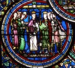 Fig. 3. King Louis VII reconciles Henry II and Thomas Becket. Sens, Cathédrale, Saint-Etienne, window 21 panel 1. Courtesy of the Musées de Sens