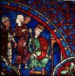 Fig. 4. The young king Henry refuses to meet Thomas Becket. Chartres, Cathédrale Notre-Dame, window 18, panel 18. Courtesy of the Centre André-Chastel, Paris.