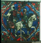 Fig. 6. The four knights ride to Canterbury. Angers, Cathédrale Saint-Maurice, window 108, panel 1. Courtesy of the Centre André-Chastel, Paris