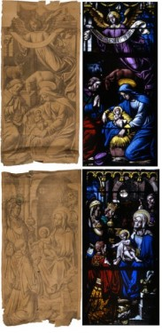 Two stained-glass panels with their vidimuses, the Nativity and the Adoration of the Magi, from bay 3, the life of the Virgin, church of Saint-Jean d'Elbeuf, 19th century, by the Jules Boulanger workshop. Nativity (inv. no. 77.22.8.1) 122.5 x 65cm; Adoration (inv. no. 77.22.8.2), 125 x 64cm. © Musée départemental des Antiquités de Rouen (Yohann Deslandes).