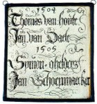 Inscribed panel with names and dates, possibly associated with guild offices, 16th century, Museum Vleeshuis, Antwerp.