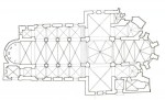 Fig. 2. Arnstein Abbey ground-plan, with windows I–V at the west end.
