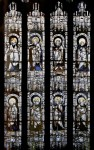 Fig. 1. Window with eight Apostles and other saints. English (West Country), medieval (Gothic), c.1420–35. Pot-metal glass; flashed glass, and white glass with silver-oxide stain; modern limestone tracery. 263 x 563 cm (103 9/16 x 221 5/8 in.). Maria Antoinette Evans Fund 25.213. © February 2008 Museum of Fine Arts, Boston.