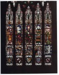 Fig. 6. Tewkesbury Abbey, east window: Christ in Judgment, flanked by the Virgin, St Michael and the Apostles