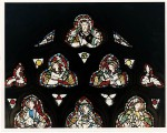 Fig. 7. Wells Cathedral, Lady Chapel, east window tracery: Christ and angels from the Last Judgment