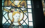 Fig. 5. Browne's Hospital, chapel, south window: head of a female saint with jewelled inserts in the crown.