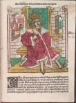 King Matthias Corvinus as depicted in the 'Chronica Hungarorum' by Johannes de Thurocz, published in 1487