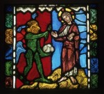 'The Temptation of Christ by the Devil', French (probably from the Collegiate Church of Saint-Étienne, Troyes), c.1170–80. One of four pot-metal glass panels with painted details; 17 3/8 x 18 7/8 in. (44 x 48 cm). Given by J. Pierpont Morgan Jr. Victoria & Albert Museum, inv. no. C.107–1919