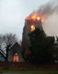The church ablaze
