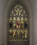 Huntington Art Gallery, stained-glass window, 'Humility, Mercy, Generosity, Charity, Justice, Liberty, Truth, Love, Faith, Courage', c.1898, Morris & Co. Tim Street-Porter