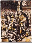 Private collection, Germany: 'Esther before Ahasuerus', Leiden school, c.1525.