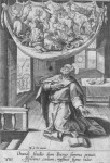 Fig. 3. An Engraving of St Peter's vision after Maarten de Vosan, with roundels visible in the windows