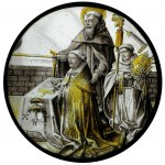 Fig. 4. Abbot Antoon TsGrootnen (abbot 1504–30) kneeling supported by St Anthony and with a monk holding his