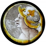 Fig. 5. The head of a soldier, sixteenth century. Small roundels like this were normally part of the decoration of a larger panel with a roundel as the centrepiece