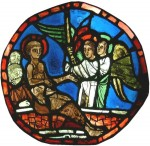 St Vincent consoled by angels c.1225–50. Originally from France, perhaps Burgundy, currently on loan to the Stained Glass Museum from the REME Museum of Technology