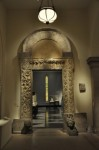 Fig. 2. View of a Tree of Jesse from Swabia (c. 1300) from the South Gallery of the Mary and Michael Jaharis Galleries for Byzantine Art. The marble doorway is from the abbey church of San Nicolò, Sangemini (1000s - 1100s or 1200s) © Craig Feder.