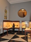 Fig. 3. A view of the new Gallery for Western European Medieval Art, including early stained glass from the abbey church of Saint-Denis (1141-44), the cathedral of Poitiers (c. 1190), and possibly the collegiate church of Saint-Étienne at Troyes (c. 1170-80) © Craig Feder.