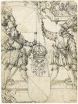 Fig. 2. (Lot 17) Josias Murer (1554 -1631) The Arms of Zürich below those of The Holy Roman Empire, flanked by a Standard Bearer and Halberdier, with Samson Wrestling The Lion above.