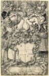 Fig. 4. (Lot 6) Daniel Lindtmayer ( 1552 – 1603) The Arms of Habsberg flanked by an elegant couple with a battle scene of Europeans fighting Turks above.