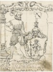 Fig. 7. (Lot 28) Attributed to Hieronymus Lang (c.1520 -1582) Coat of Arms with Saint James holding an arrow, the Donor standing alongside and with only the design for the left hand border drawn