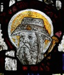 Fig. 2. Head of St James the Great Major, patron saint of pilgrims, with a cockleshell badge in his cap. St John the Baptist church, Burford, Oxfordshire, England, fifteenth-century. © YF Pictures.