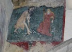 Fig. 6. Adam digging and Eve spinning, wall painting, Broughton Church, Cambridgeshire, 15th C. © Anne Marshall and reproduced with permission.
