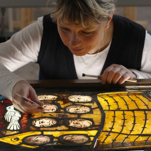 Sandra Meinung working on one of the final six windows recently returned from Russia: the Genesis window: (nII) Noah's Ark