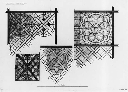 Fig. 4b. Types of Grisaille found in Salisbury Cathedral, c.1200-1250.