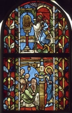 Two scenes from the life of St Nicholas from the College of St Stephen in Troyes. Above: the Jew and the statue of St Nicholas; below: the charity of St Nicholas. Musée national du Moyen Age.