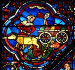 Fig. 1. A medieval traffic accident. A money borrower is accidently run over and the cane in which the money was kept breaks open and the money is lost. From the St Nicholas window at Chartres cathedral, first half 13th century