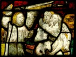 Fig. 3. Adam and Eve are expelled from the Garden of Eden by an Angel with a flaming sword. Malvern Priory, 15th century