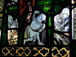Three Soldiers under Christ's tomb, c.1310-40, panel 1c, window nII, All Saints' Church, North Street, York. © Jasmine Allen.