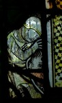 Fig. 6. Detail of soldier with shield, c.1310-40, panel 1c, window nII, All Saints' Church, North Street, York.