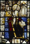 Fig. 3. A canonised bishop, Greystoke Church, east window, panel 4b.