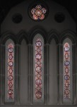 Fig. 3. Jesus College Chapel, Cambridge, East window. Designed by Pugin, in the Early style, following a preparatory visit to Chartres for purposes of study. Made by Hardman, 1848. The subject is the Passion of Our Lord. © Alastair Carew-Cox.