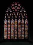 Fig. 5. St Cuthbert's College Chapel, Ushaw, Durham. The East window, (since relocated within the chapel). The subject of this ambitious and elaborate composition is the Triumph of the Church. Designed by Pugin, and described by him as 'the finest work of modern times', and made by Hardman, 1846-7. © Alastair Carew-Cox.