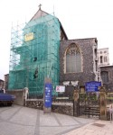 Fig. 1. Protective scaffolding at the church of St Stephen. © Mike Dixon.