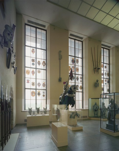 Fig. 1. Philadelphia Museum of Art: The Kretzschmar von Kienbusch Collection and the Dixon stained glass coats of arms. Photo by Graydon Wood.