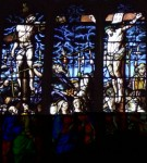 Fig. 1. The Roman Soldier Longitudinus hurling a spear into Christ's side, detail of East Window, Peterhouse College Chapel, Cambridge, c.1632. © Jasmine Allen.