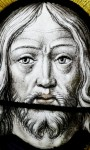 Fig. 10. The face of Christ, c 1515 Chapel of St Mary & St Michael, Llanarth
