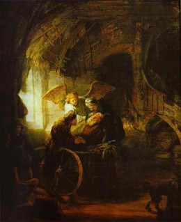 Fig. 2. Tobias restores his Father's sight, by Rembrandt van Rijn, 1636 (Staatsgalerie, Stuttgart, Germany).