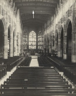Fig. 7. The Angel beam (arrowed) in St Michael's Cathedral, Coventry, c.1936