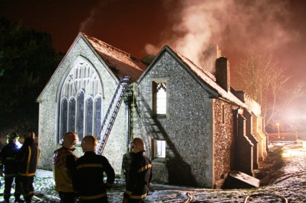 Firefighters tackle the blaze at the church of St Mary, Sheering, Essex © Essex County Fire and Rescue Service