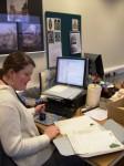 Ellie Jones compiling the catalogue.