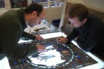 The panel in the cathedral workshop (January 2010) with Tom Küpper (left) and Steve Lewis.