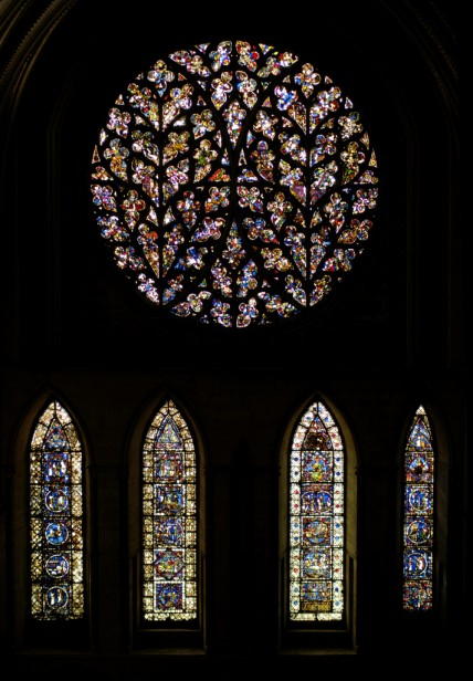 Early glass in the south transept. The damaged panel is lowest far left.